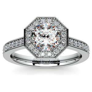Halo Diamond Engagement Ring in White Gold (3/8 ctw)