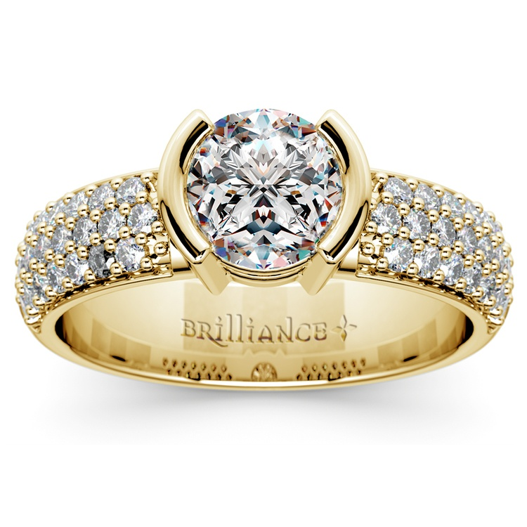 Half Bezel Diamond Engagement Ring in Yellow Gold (3/8 ctw)  | 01