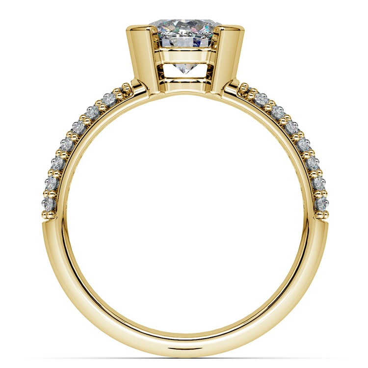 Half Bezel Diamond Engagement Ring in Yellow Gold (3/8 ctw)  | 02