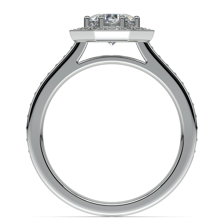 Halo Diamond Engagement Ring in Palladium (3/8 ctw) | 02