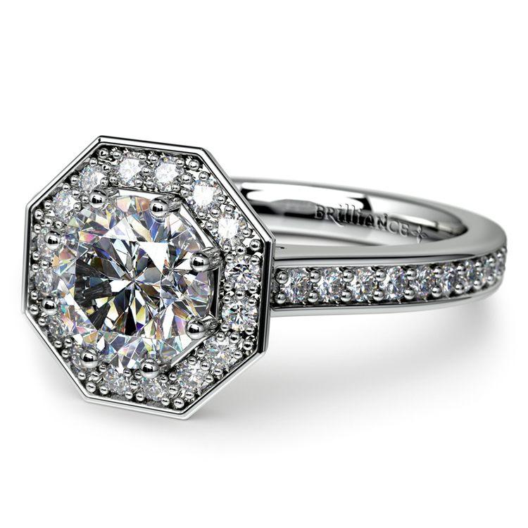 Halo Diamond Engagement Ring in Palladium (3/8 ctw) | 04