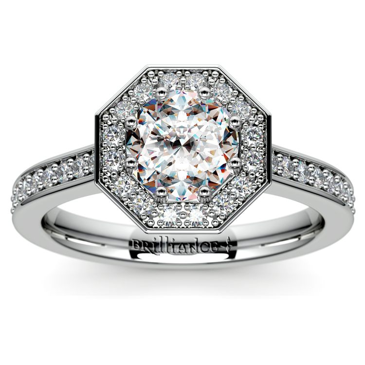 Halo Diamond Engagement Ring in White Gold (3/8 ctw) | 01