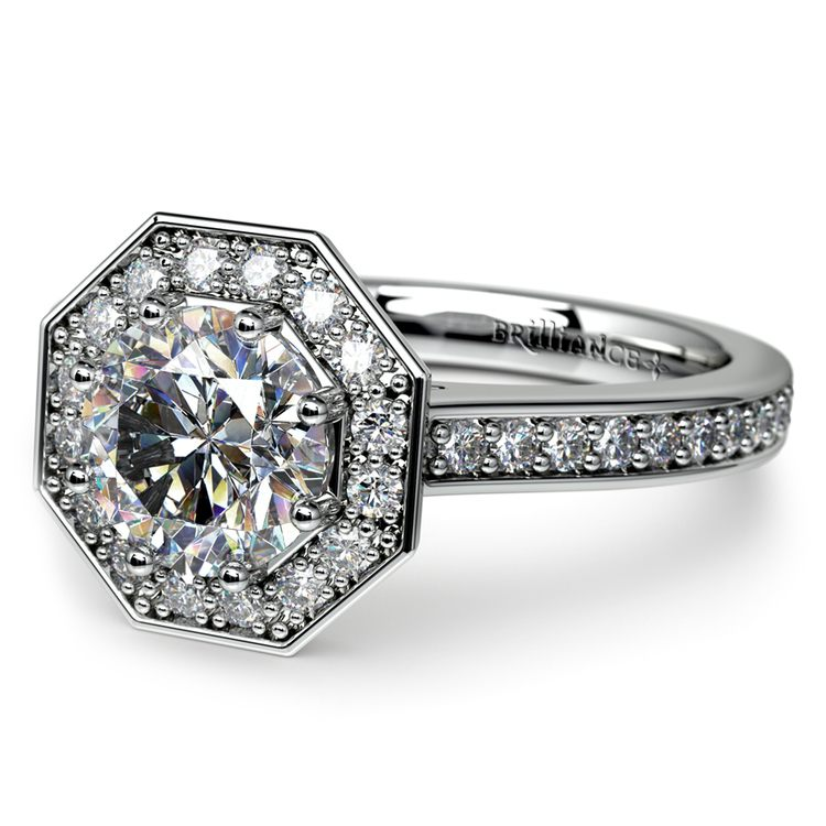 Halo Diamond Engagement Ring in White Gold (3/8 ctw) | 04