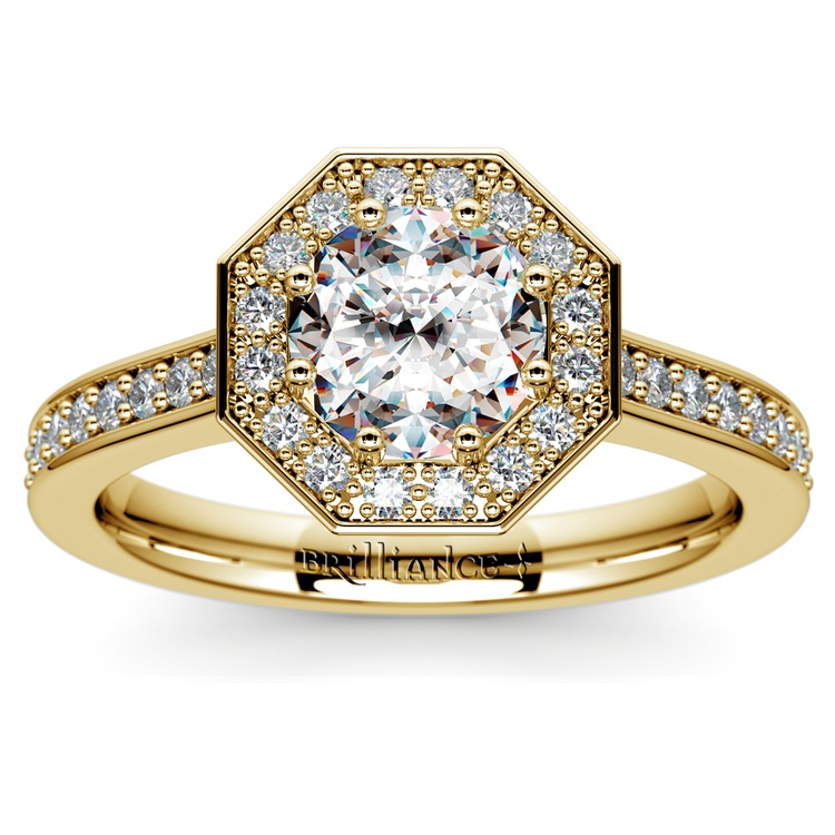 Halo Diamond Engagement Ring in Yellow Gold (3/8 ctw) | 01
