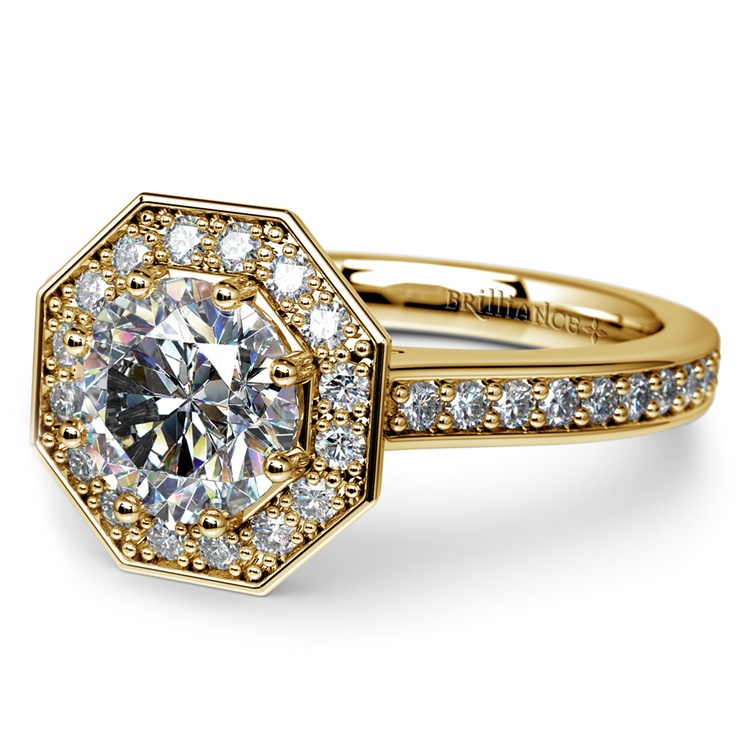 Halo Diamond Engagement Ring in Yellow Gold (3/8 ctw) | 04