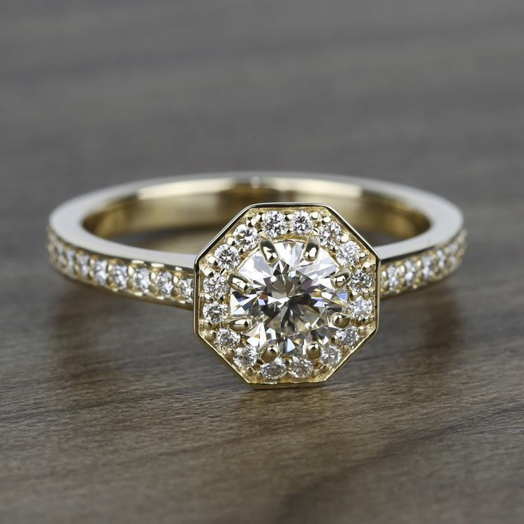 Halo Diamond Engagement Ring in Yellow Gold (3/8 ctw) | 05