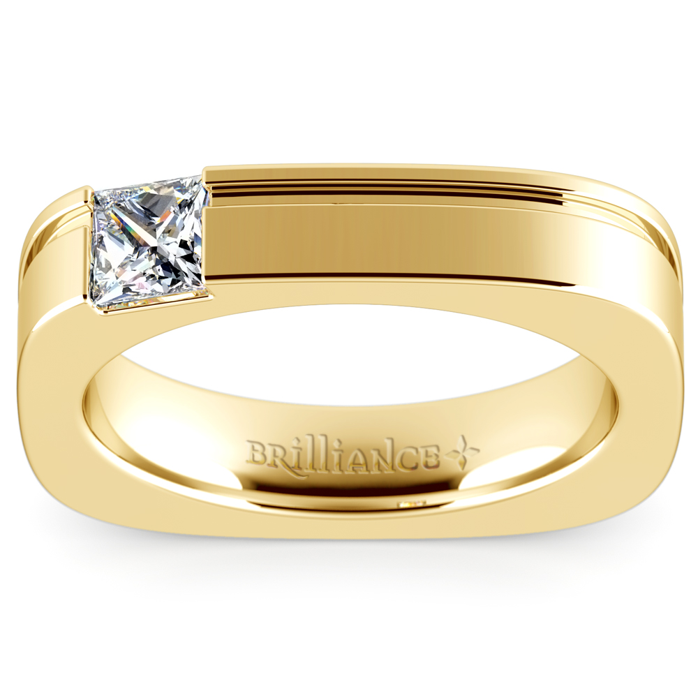 mens designer wedding rings achilles princess solitaire mangagement ring in yellow 5792