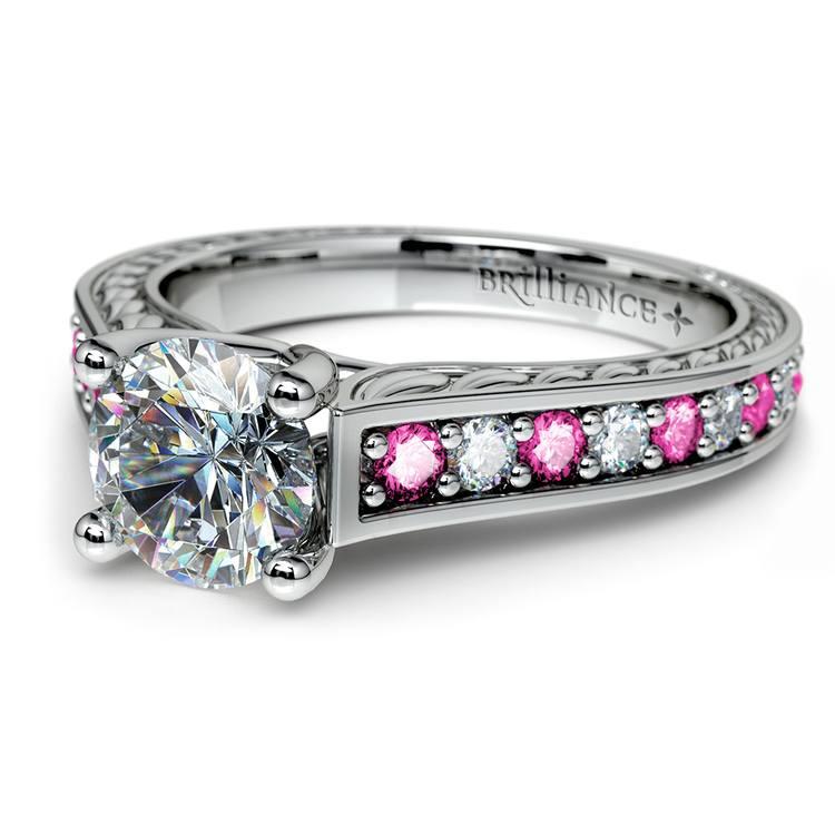 Antique Diamond & Pink Sapphire Gemstone Engagement Ring in Platinum   04