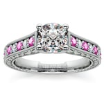 Antique Diamond & Pink Sapphire Gemstone Engagement Ring in White Gold | Thumbnail 01