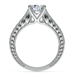 Antique Diamond & Pink Sapphire Gemstone Engagement Ring in White Gold | Thumbnail 02