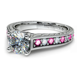 Antique Diamond & Pink Sapphire Gemstone Engagement Ring in White Gold | Thumbnail 04