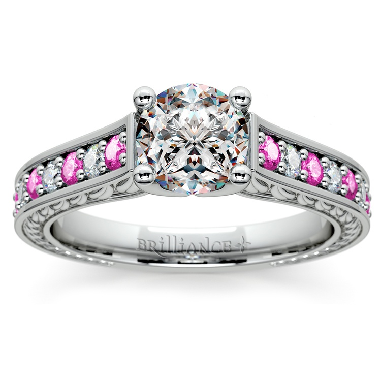 Antique Diamond & Pink Sapphire Gemstone Engagement Ring in White Gold | 01