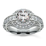 Antique Scroll Diamond Engagement Ring in Platinum | Thumbnail 01