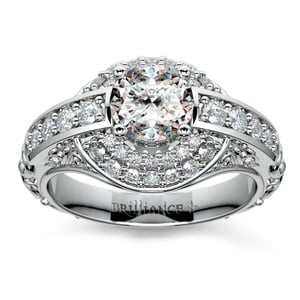Antique Scroll Diamond Engagement Ring in Platinum