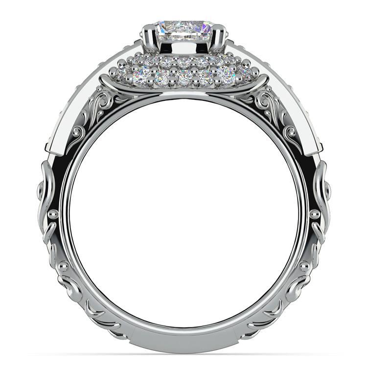 Antique Scroll Diamond Engagement Ring in Platinum