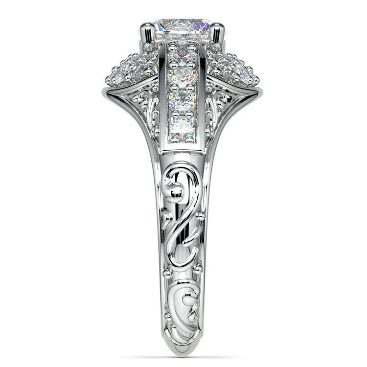 Antique Scroll Diamond Engagement Ring in Platinum | 03