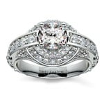Antique Scroll Diamond Engagement Ring in White Gold | Thumbnail 01