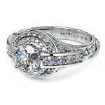 Antique Scroll Diamond Engagement Ring in White Gold | Thumbnail 04