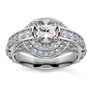 Antique Scroll Diamond Engagement Ring in White Gold