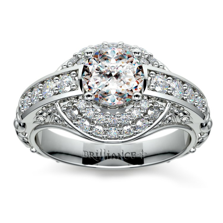 Antique Scroll Diamond Engagement Ring in White Gold | 01