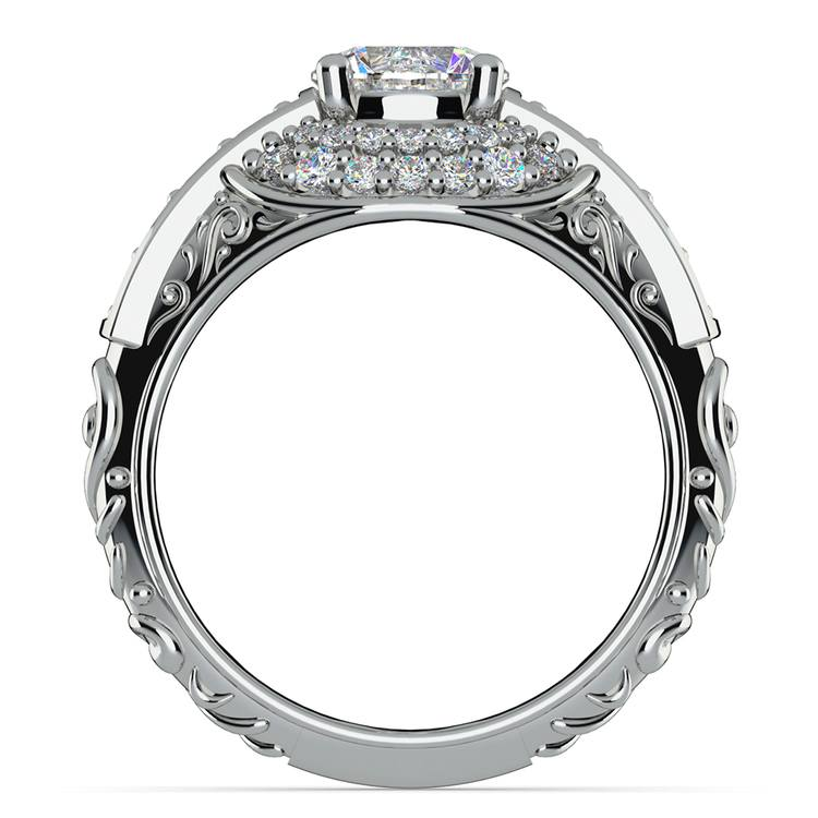 Antique Scroll Diamond Engagement Ring in White Gold | 02
