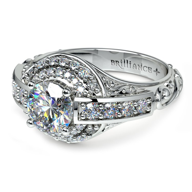 Antique Scroll Diamond Engagement Ring in White Gold | 04