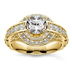 Antique Scroll Diamond Engagement Ring in Yellow Gold | Thumbnail 01