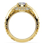Antique Scroll Diamond Engagement Ring in Yellow Gold | Thumbnail 02