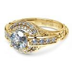 Antique Scroll Diamond Engagement Ring in Yellow Gold | Thumbnail 04