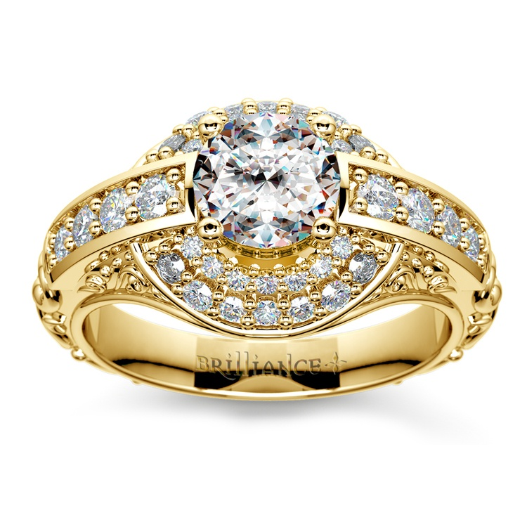 Antique Scroll Diamond Engagement Ring in Yellow Gold | 01