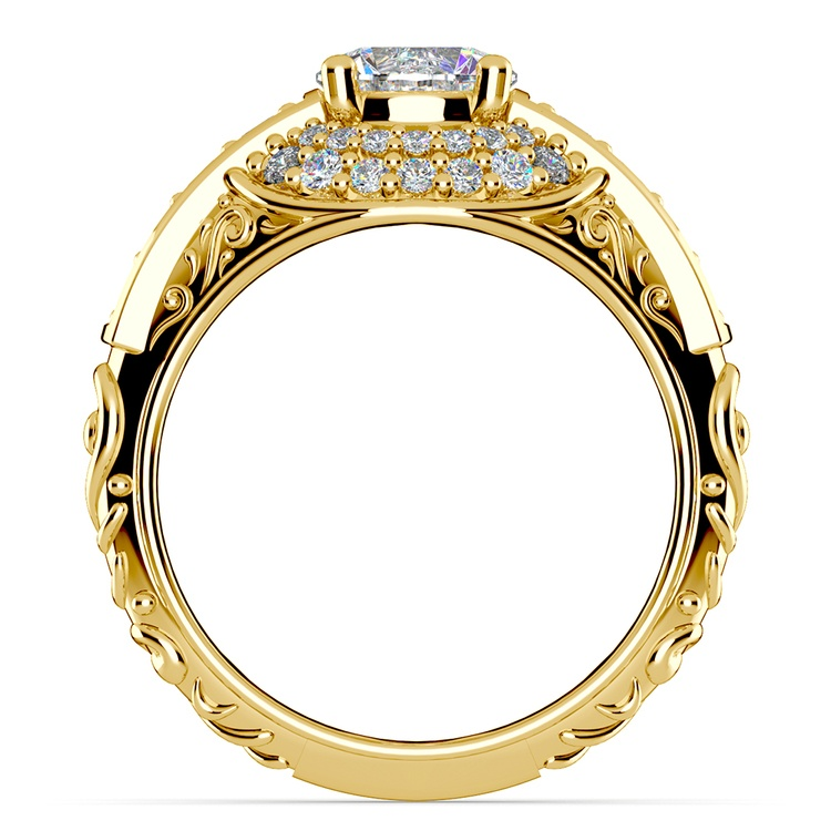 Antique Scroll Diamond Engagement Ring in Yellow Gold | 02