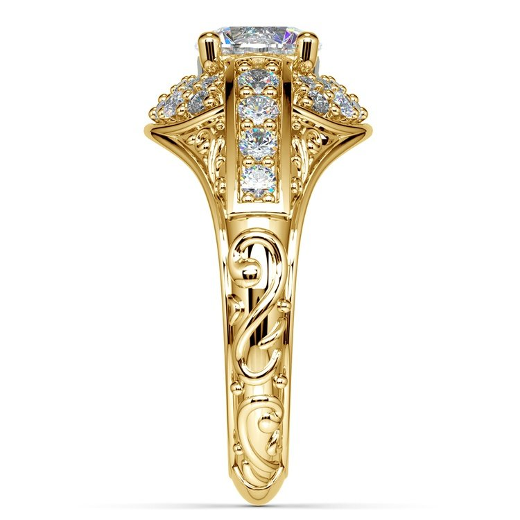 Antique Scroll Diamond Engagement Ring in Yellow Gold | 03