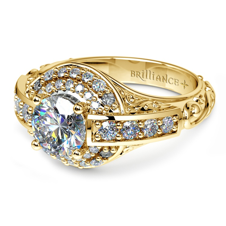 Antique Scroll Diamond Engagement Ring in Yellow Gold | 04