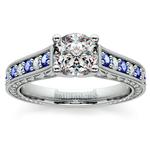 Antique Diamond & Sapphire Gemstone Engagement Ring in Platinum | Thumbnail 01