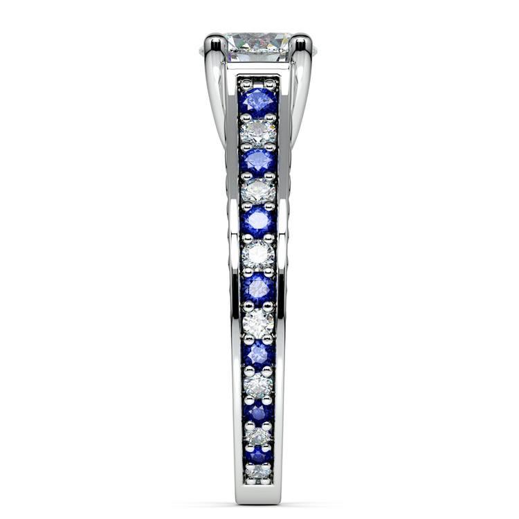Antique Diamond & Sapphire Gemstone Engagement Ring in Platinum | 03