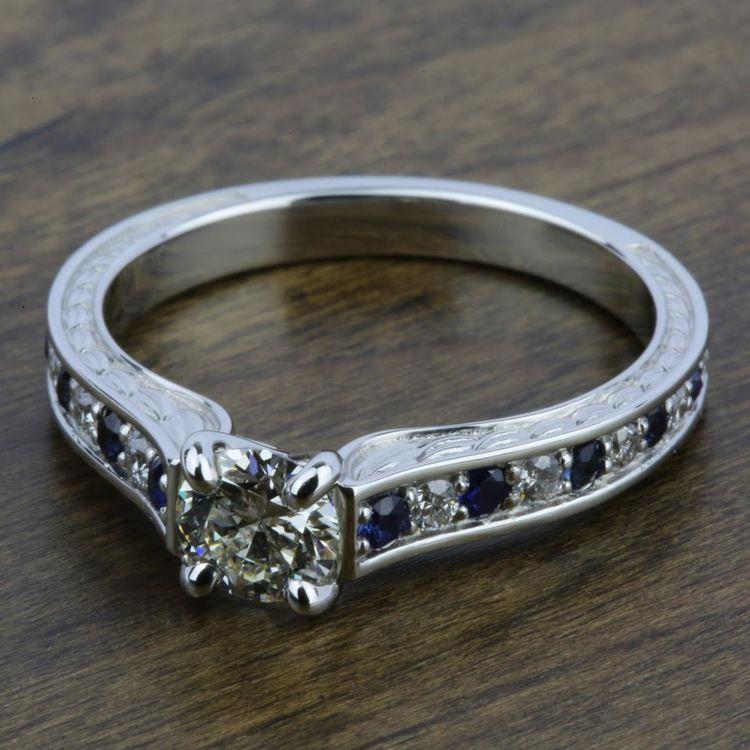 Antique Diamond & Sapphire Gemstone Engagement Ring in White Gold | 05