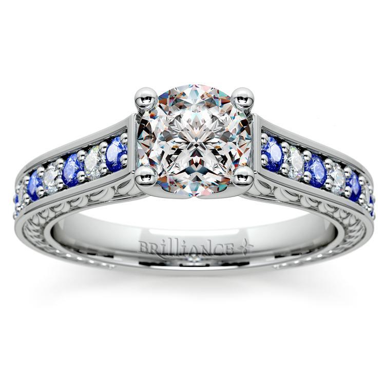 Antique Diamond & Sapphire Gemstone Engagement Ring in White Gold | 01