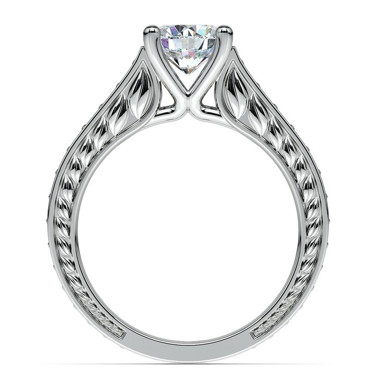 Antique Diamond & Sapphire Gemstone Engagement Ring in White Gold | 02