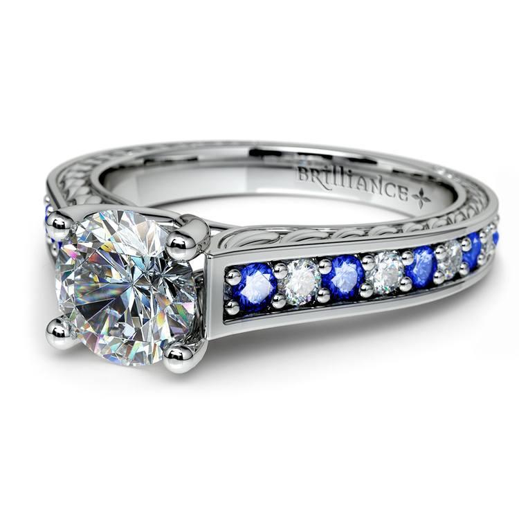 Antique Diamond & Sapphire Gemstone Engagement Ring in White Gold | 04