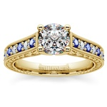 Antique Diamond & Sapphire Gemstone Engagement Ring in Yellow Gold | Thumbnail 01