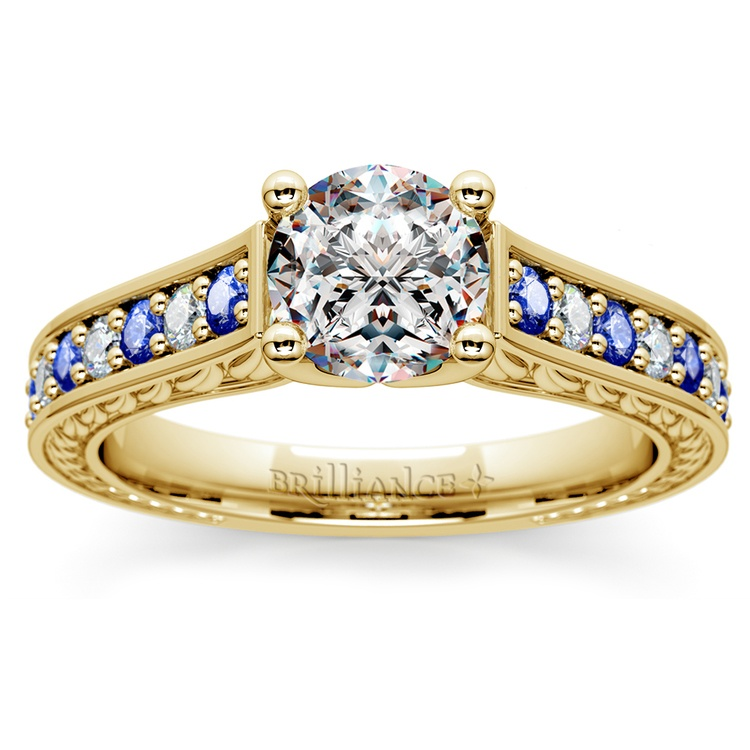 Antique Diamond & Sapphire Gemstone Engagement Ring in Yellow Gold | 01