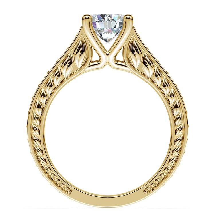 Antique Diamond & Sapphire Gemstone Engagement Ring in Yellow Gold | 02