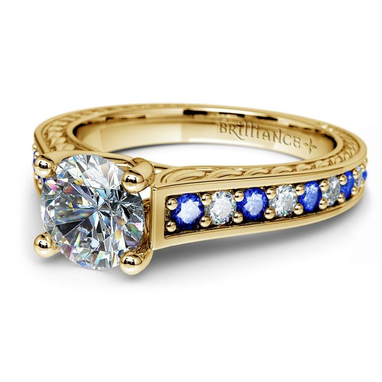 Antique Diamond & Sapphire Gemstone Engagement Ring in Yellow Gold | 04