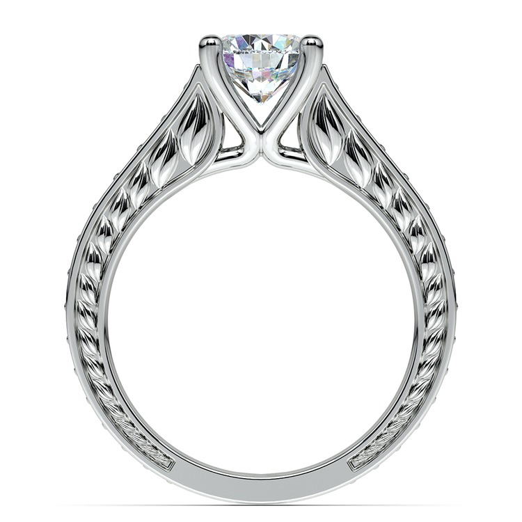 Antique Emerald Gemstone Engagement Ring in White Gold | 02