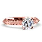 Antique Floral Knife Edge Solitaire Engagement Ring in Rose Gold | Thumbnail 04