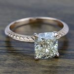 Antique Floral Knife Edge Solitaire Engagement Ring in Rose Gold | Thumbnail 05