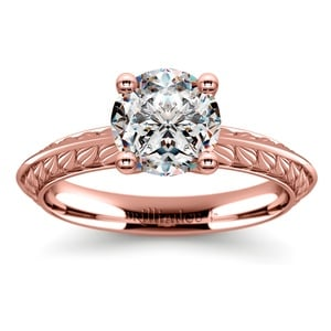 Antique Floral Knife Edge Solitaire Engagement Ring in Rose Gold