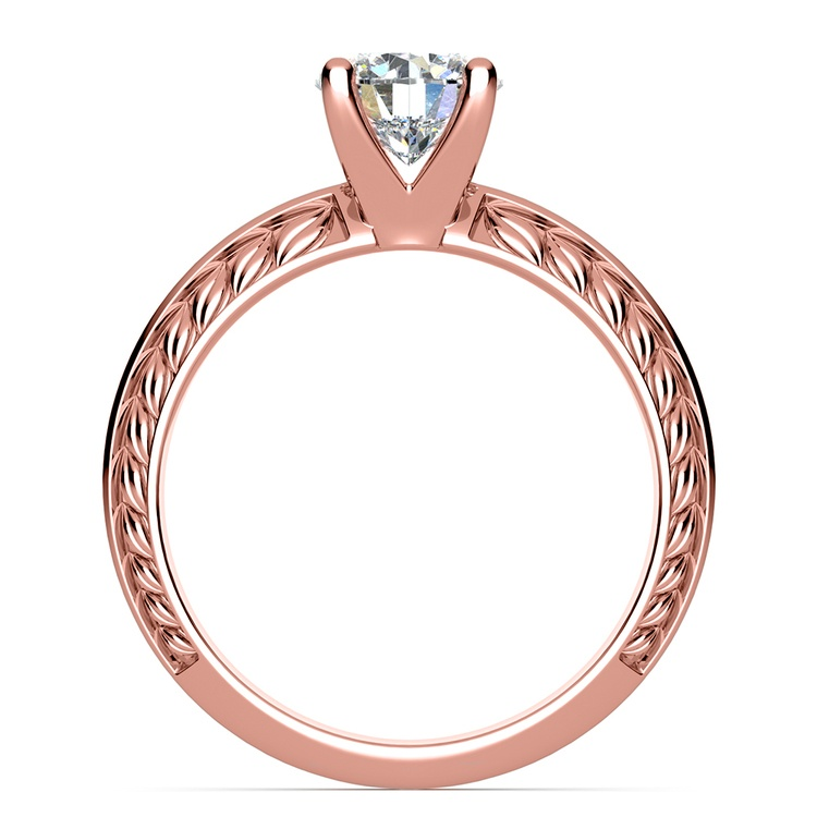 Antique Floral Knife Edge Solitaire Engagement Ring in Rose Gold | 02