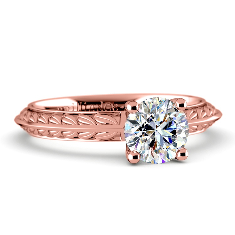 Antique Floral Knife Edge Solitaire Engagement Ring in Rose Gold | 04