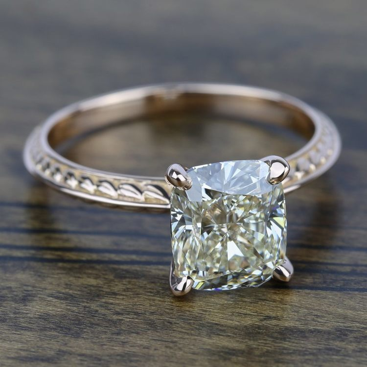 Antique Floral Knife Edge Solitaire Engagement Ring in Rose Gold | 05